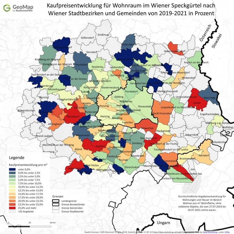 Kaufpreisentwicklung im Wiener Speckgürtel